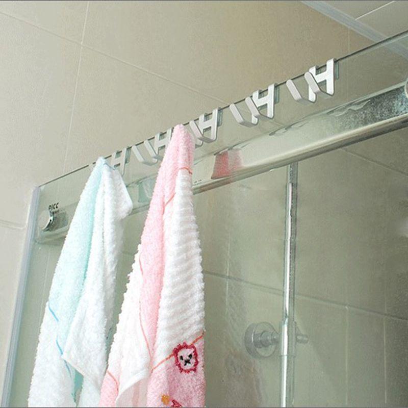 2021 New Space Aluminum Shower Glass Door Hook Free Hole Towel Rack Hanger Key Organizer