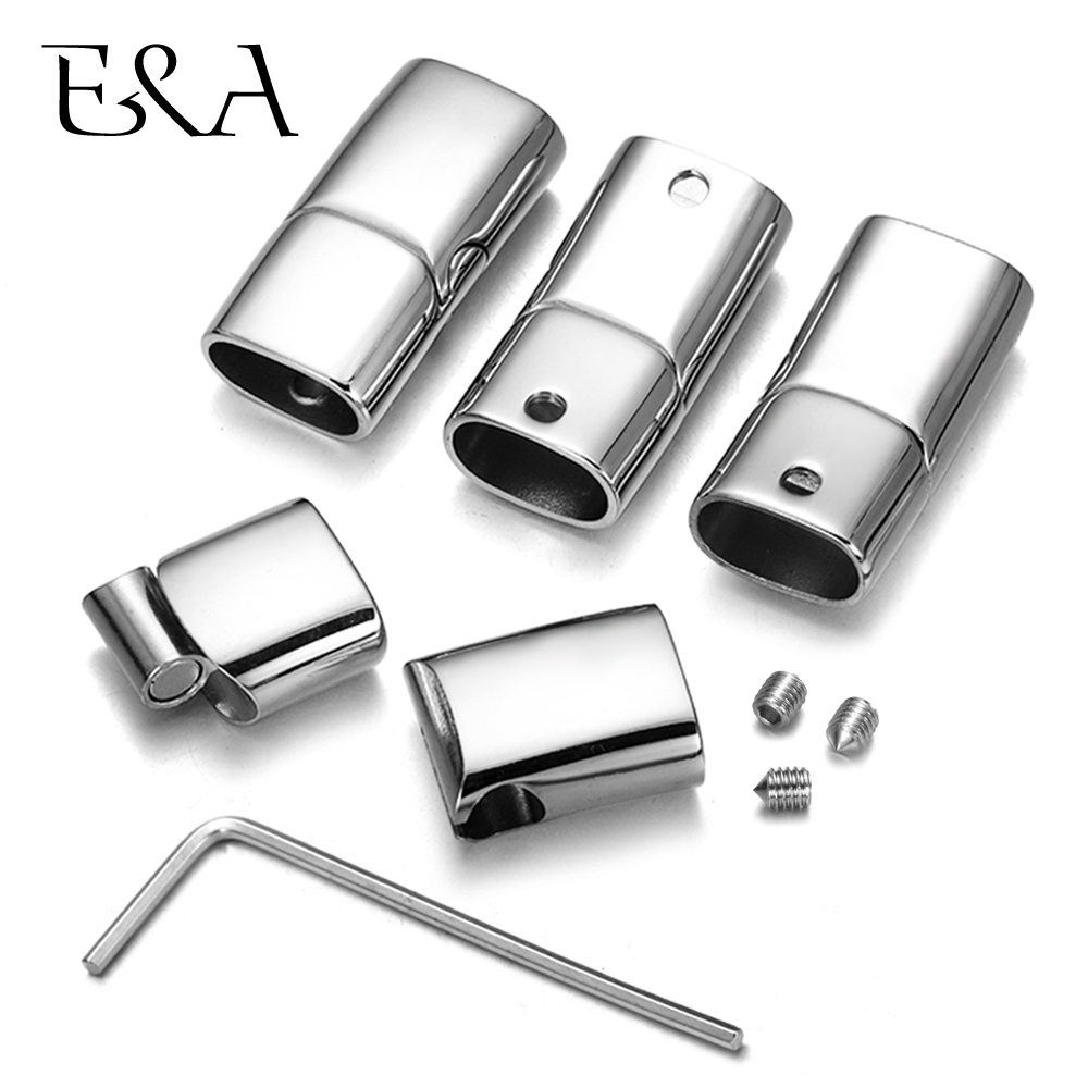 A Set of Stainless Steel Adjustable Magnetic Clasps with Screw for Leather Cord Bracelet DIY Jewelry Making Kit Removable Buckle