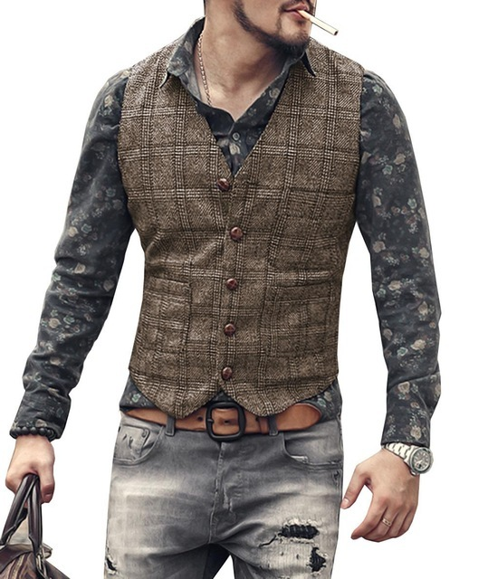 mens suit vests men brown black waistcoat vest man plaid steampunk jacket striped tweed v-neck slim fit gilet wedding clothing 1