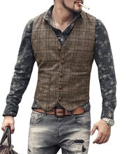 mens suit vests men brown black waistcoat vest man plaid steampunk jacket striped tweed v-neck slim fit gilet wedding clothing