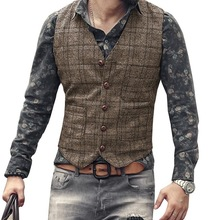 Vests Men Steampunk-Jacket Gilet Wedding-Clothing Black Waistcoat Slim-Fit Plaid Brown