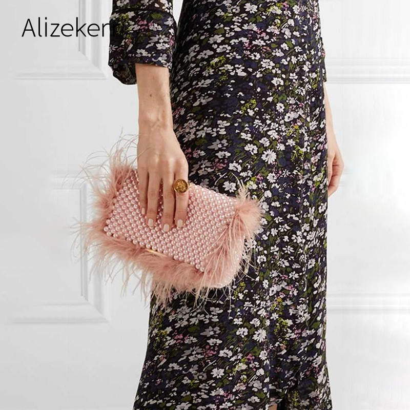 Faux Fur Pearl Evening Clutch Bag Women Handmade Pink Beaded Cover Dinner Party Purses Handbag Female Popular Cute Shoulder Bag