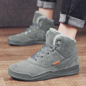 Image 3 - Coolvfatbo男性雪のブーツ冬暖かい男性靴のファッション快適な高トップ屋外スニーカーブーツ毛皮フラット冬の靴