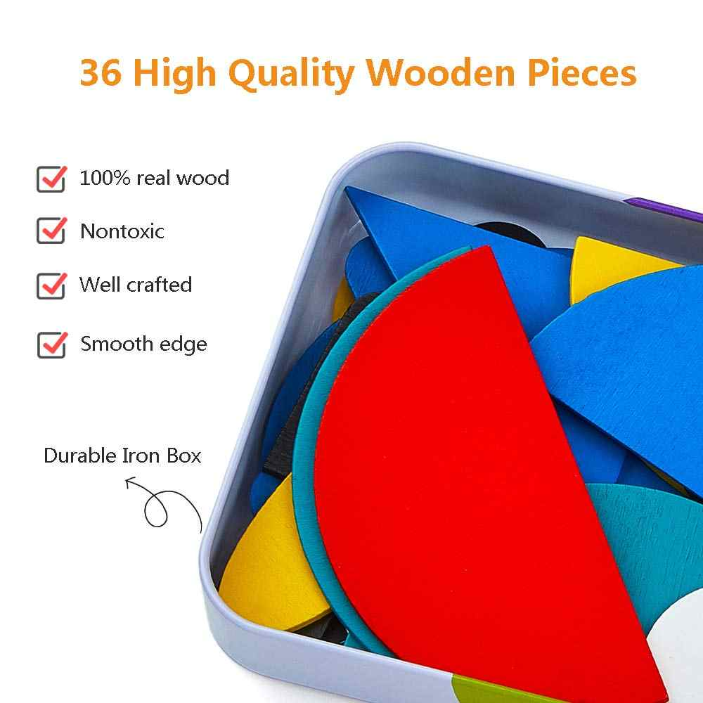 36 Shapes /& 60 Design Cards,Pattern Blocks Puzzle Set Montessori Educational Toys JAOK Wooden Shapes Puzzle Sorting and Stacking Jigsaw Games for Children Boys and Girls 3 years old