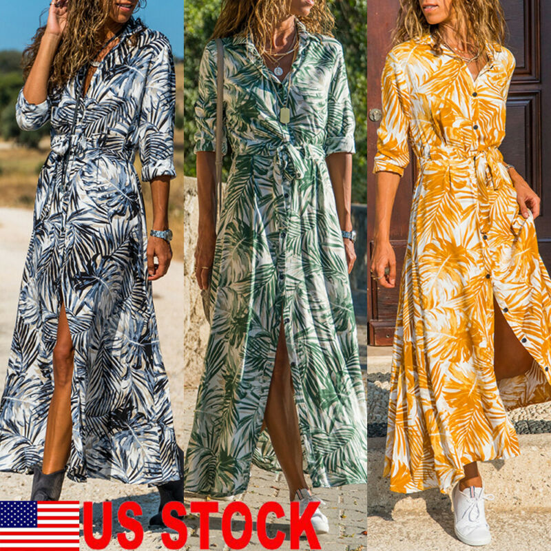 Women's Floral Print Long Shirt Dress Summer Holiday Party Midi Dress Plus Size