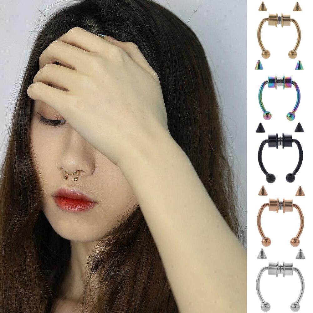U Förmigen Gefälschte Nase Ring Hoop Septum Ringe Edelstahl Magnet Nase Piercing Fake-Piercing Körper Schmuck Hip Hop Rock 1/2 stücke