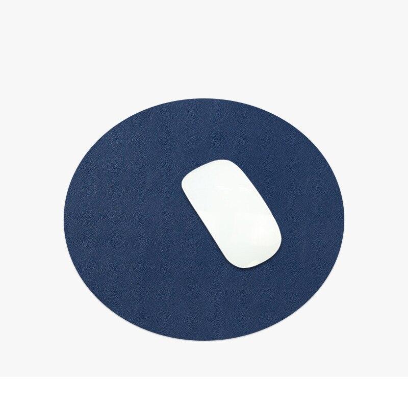 Купить нескользящий круглый коврик для мыши двухцветный удобный кожаный