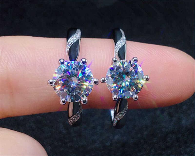 YANHUI Mit Zertifikat Ganze 925 Solide Silber Ringe Frauen Luxus Stil 1ct Zirkonia Diamant Feine Schmuck Jahrestag Ring ER363