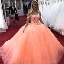Очаровательное бисерное бальное платье с кристаллами Quinceanera, платье с открытыми плечами, фатиновое платье для дебютанта 16, 16, 16, Vestidos De 15 Ano