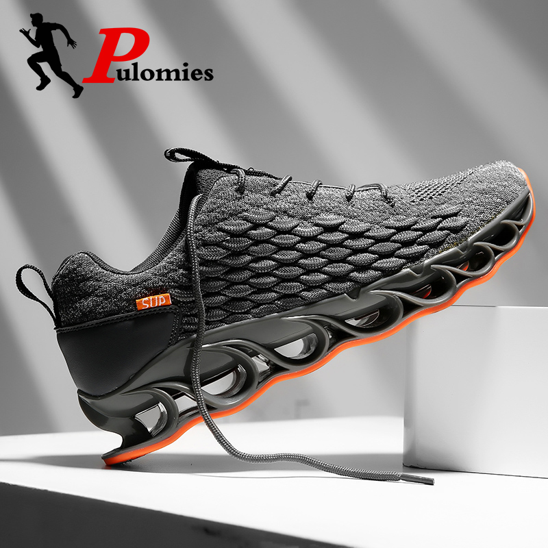 PULOMIES Men Shoes Springblade Running Sports Shoes Scale Sneakers Men Chunky Platform Sneakers Men Casual Shoes 39 Sneakers 46