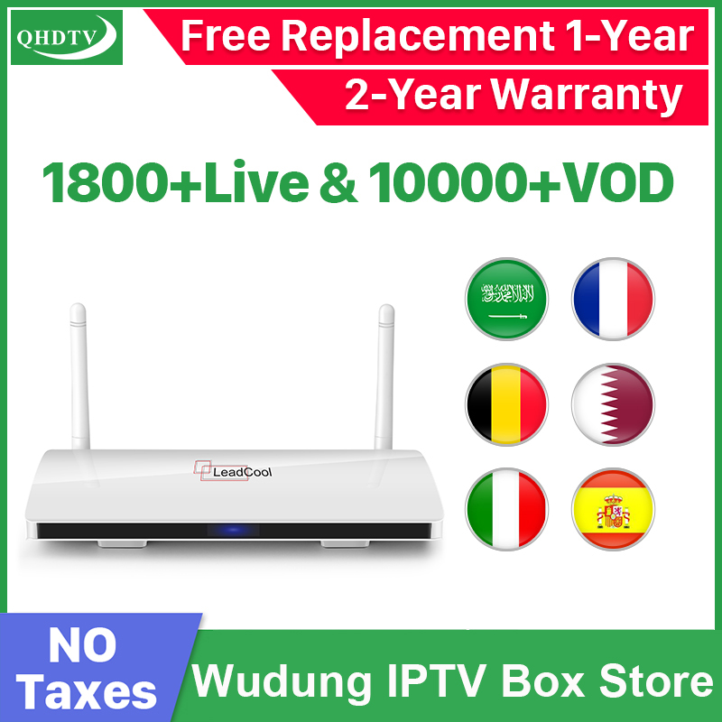 Leadcool Android 8.1 2G 16G TV Box QHDTV IPTV Subscription Europe French Turkey Portugal Dutch 1800 Channels 10000 VOD IPTV Box
