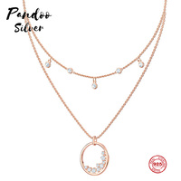 PANDOO Fashion Charm Pure 925 Silver Original 1:1 Copy, Simple Design Round Layer Fashion Necklace Female Luxury Jewelry Gifts