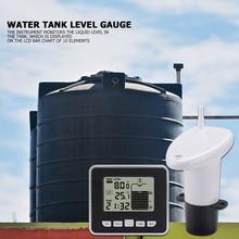 عمق مستوى متر مع درجة الحرارة عرض الوقت إنذار الارسال قياس بالموجات فوق الصوتية اللاسلكية خزان المياه السائل