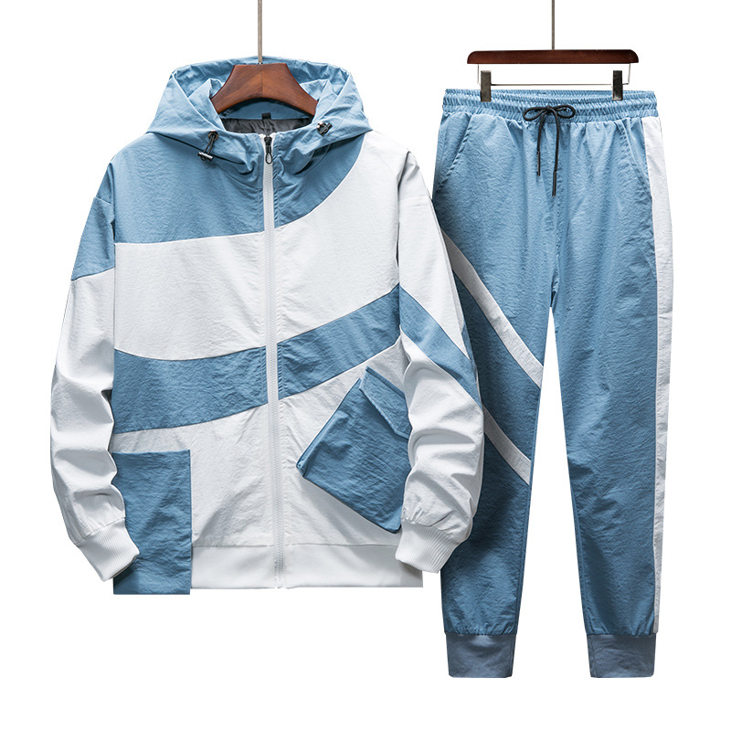 Tracksuit Set Men Spring Autumn Sporting Suit Hooded Sweatshirts+Pant Hip Hop Patchwork Two Piece Set For Men Sweatsuit Clothing