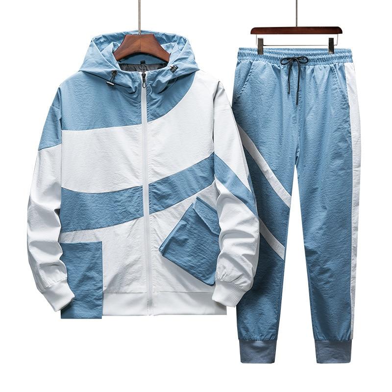 Tracksuit Set Men Spring Autumn Sporting Suit Hooded Sweatshirts+Pant Hip Hop Patchwork Two Piece Set For Men Sweatsuit Clothing
