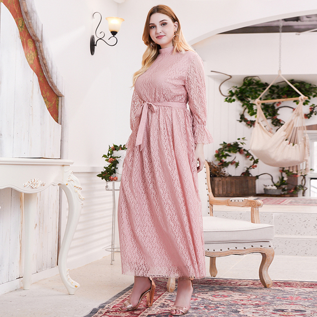 Siskakia Sweet Pink Lace Elegant Long Dress Plus Size Mandarin Collar Flare Long Sleeve Maxi Dresses Evening Party Spring 2020 5