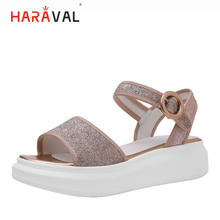 HARAVAL 2019 summer sweet flat sandals everyday casual women's shoes solid color simple design branded shoes for ladies S130