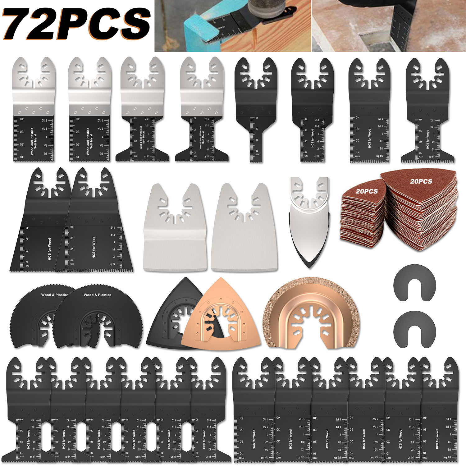 72 PCS/Set Oscillating Multitool Saw Blades Accessories Kit Multitool Blades Universal