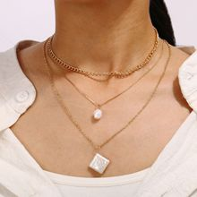 Fashion Geometric Pearl Long Chains Necklace Women Multi-layer Pendant Necklace Wedding Party Jewelry New Gold Color Chain 2020