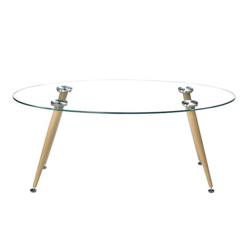 Wood Grain Conical Leg Transparent Tempered Glass Assembly Coffee Table E5M1