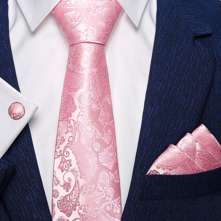 Coral Pink Paisley Skinny Men/'s Tie and Handkerchief Set Thin Tie Wedding Tie