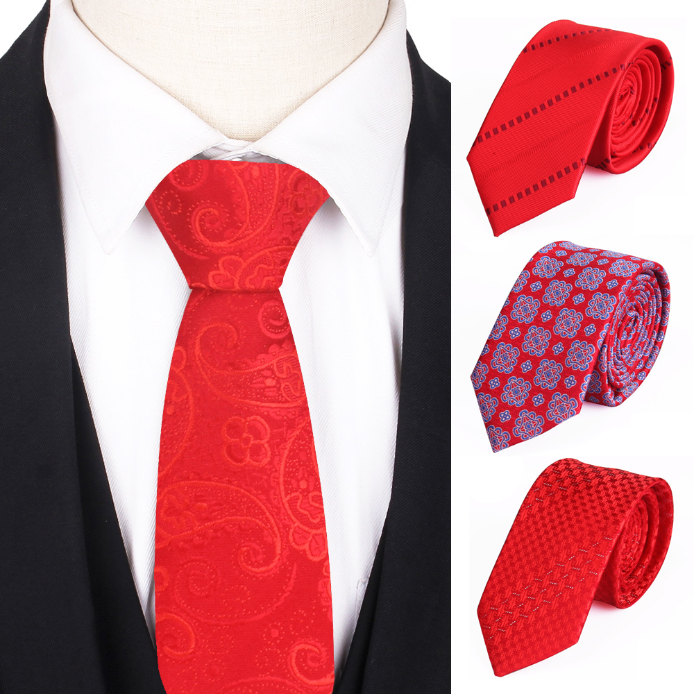 Skinny Red Necktie Jacquard Woven Classic Ties For Men Women Fashion Slim Paisley Men Tie Groom Neck Tie For Party Wedding