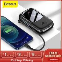 Baseus-Mini banco de energía de 20000mAh, cargador de batería externo con Cables integrados para iPhone 12 Pro, Xiaomi y Samsung