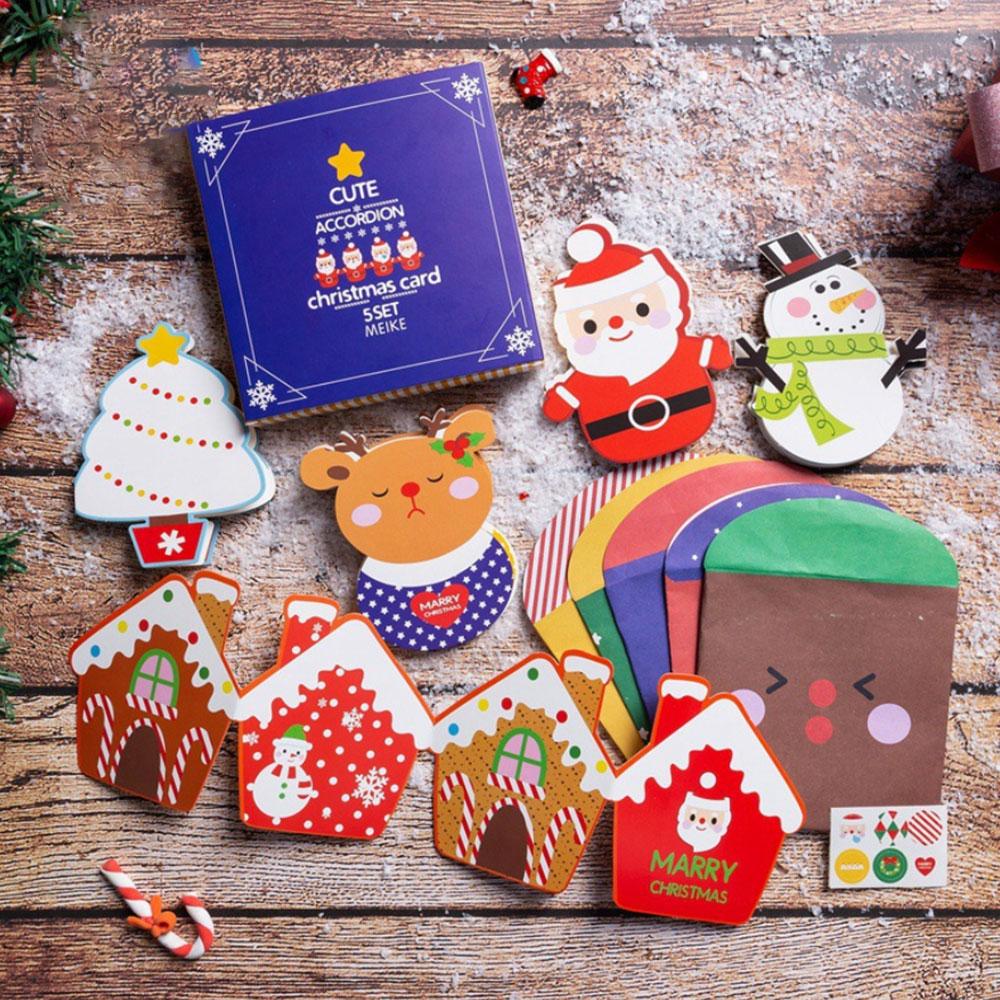 Kid Xmas Handmade Toys Mini Santa Claus Merry Christmas Tree Paper Greeting Postcards Wishes Craft DIY Kids Festival Greet Cards