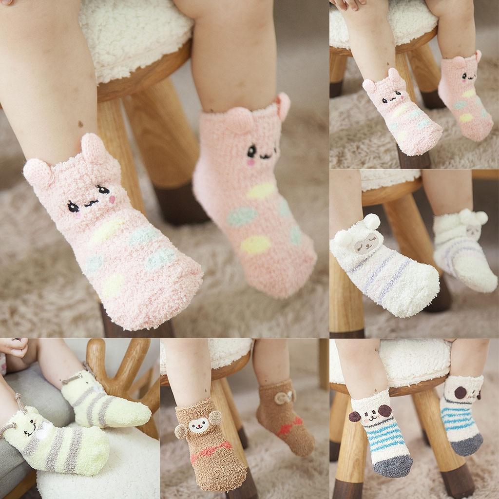 Newborn Baby Winter Socks Kids Boys Girls Socks Baby Cartoon 3D Animal Thicken Warm Knitted Anti Slip Socks