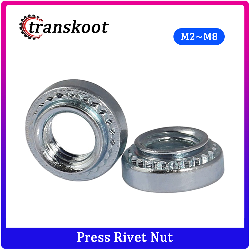 50Pcs m2 m2.5 m3 m4 m5 m6 m8 Slab Thickness 1.4mm 1.0mm 0.8mm Carbon Steel Rivnut Self Clinching Insert Nutsert Press Rivet Nut rivet nut nut nutpress nut - AliExpress