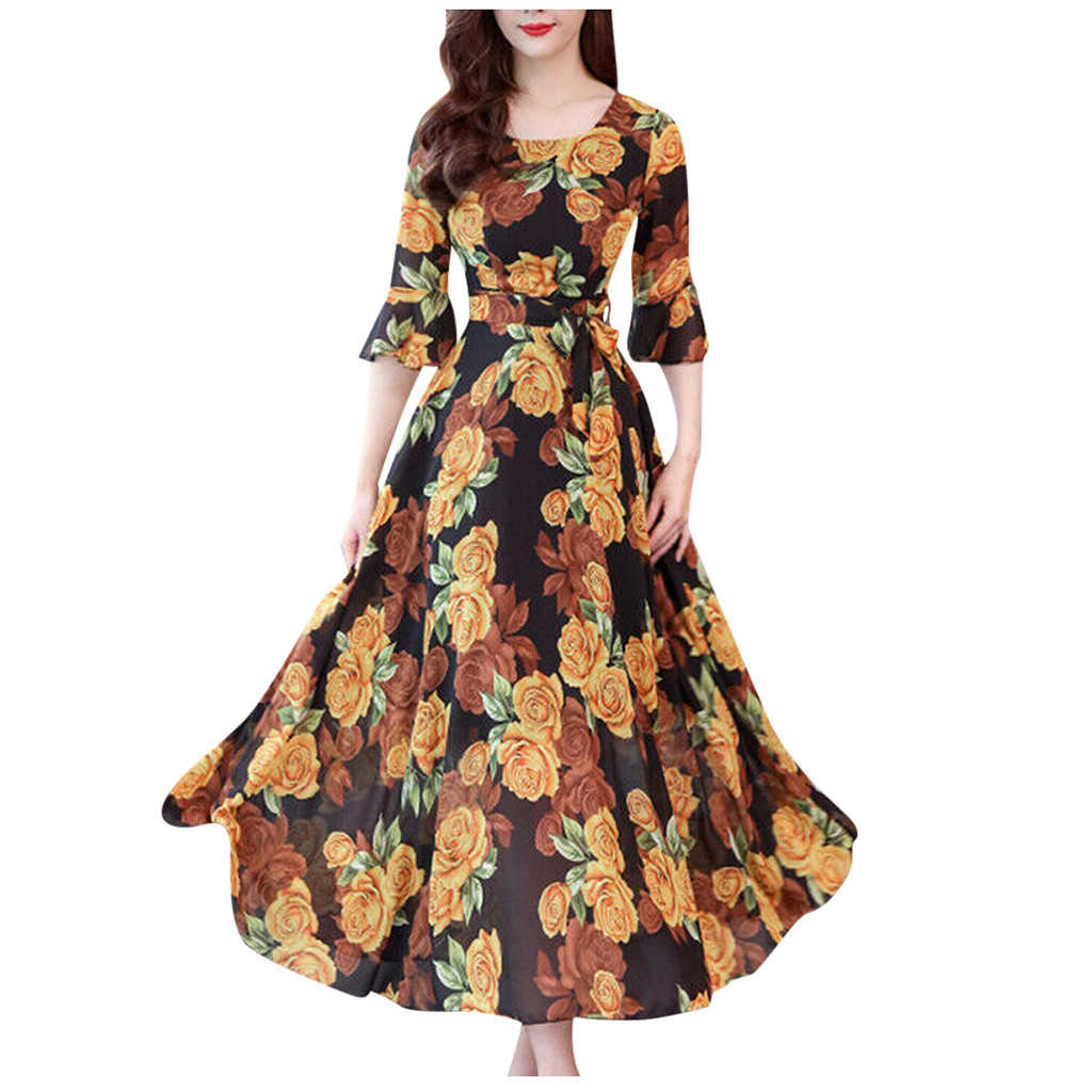 Women Spring Summer Dresses Fashion Floral Print  Dress Plus Size Long Sleeves Pockets Loose Robe Casual Maxi Ladies 816