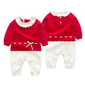 Image 3 - 신생아 가을 니트 Romper 아기 소녀 아기 옷 긴 소매 jumpsuituits 복장 3 캔디 색상 뜨개질 유아 의상