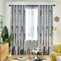 Скандинавские затененные готовые шторы для спальни гостиной Детские оконные обработки современные Синие Серые занавески тюль для кухни