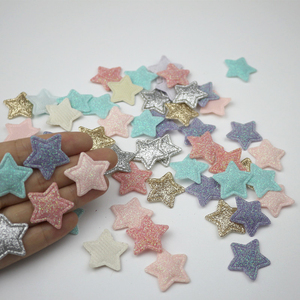 100Pcs Glitter Stars Padded Patches Appliqued DIY Craft Artesanato Material Kids Headwear Hair Accessories Pentagram Embossing(China)