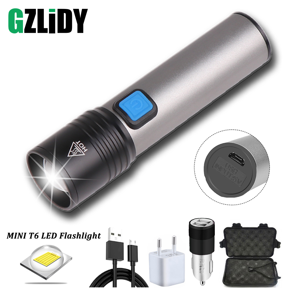 Portable Mini LED Flashlight USB Rechargeable T6 Wick Torch Waterproof Telescopic Zoom Outdoor Light Suitable For Night Lighting