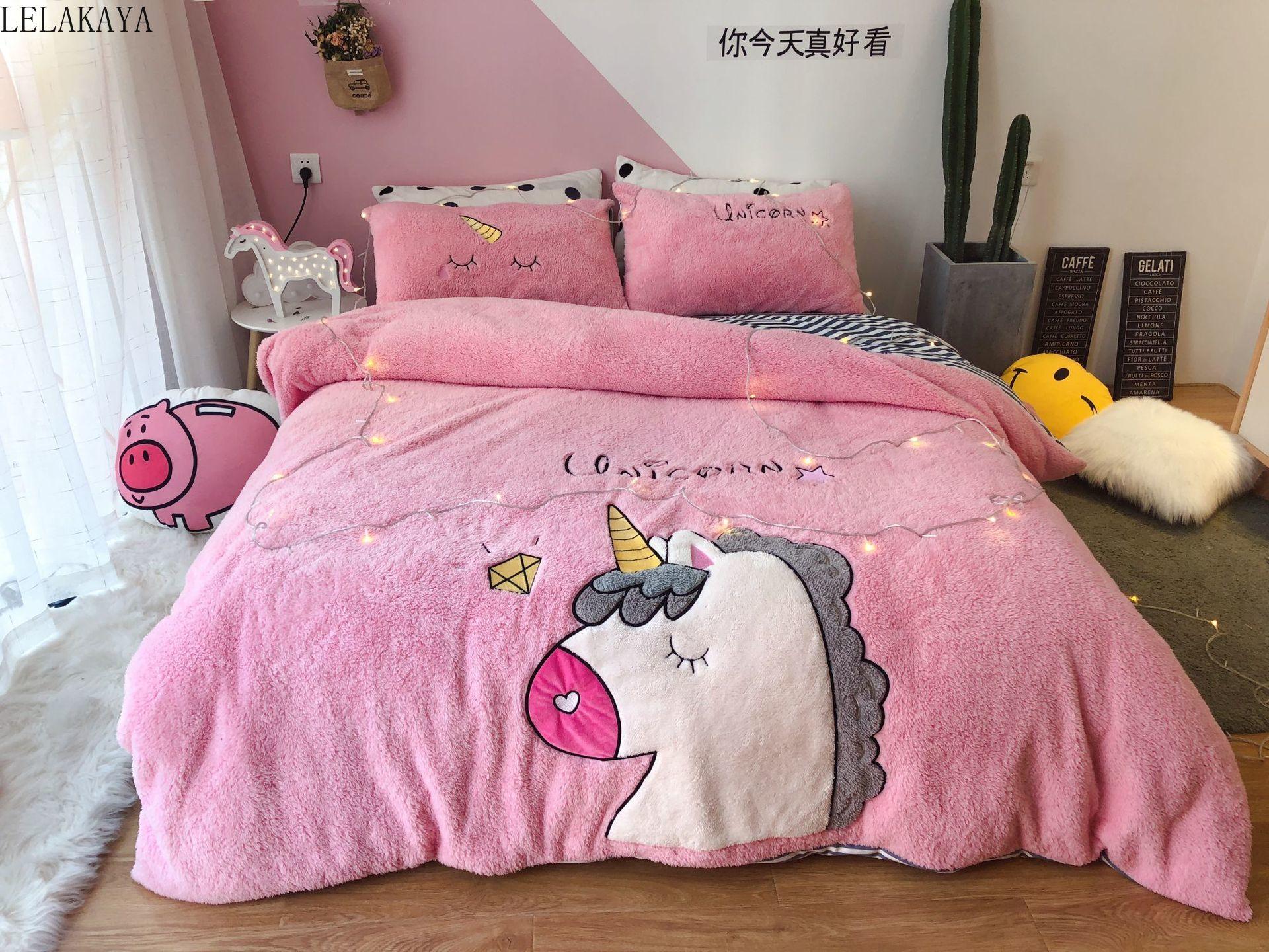 Super doux belle licorne dessin animé Animal agneau polaire ensemble de literie chaud broderie housse de couette drap de lit taie d'oreiller en peluche