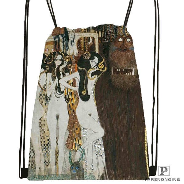 Custom Gustav_Klimt @1 Drawstring Backpack Bag Cute Daypack Kids Satchel (Black Back) 31x40cm#20180611-02-98