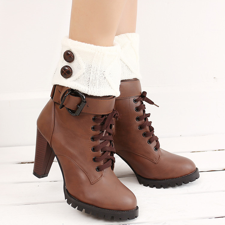 Women's Boots In Autumn And Winter, Short Socks, Wool Knitting, Warm Buttons, Feet, Middle Barrel Wool Socks