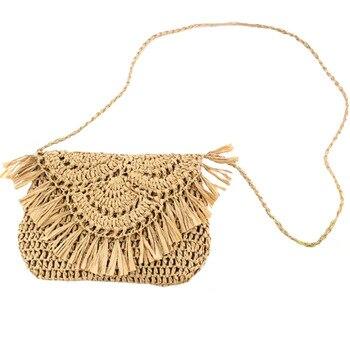 Tassel Straw Bag Paper Rope Hook Flower Big Flip Hand-Women Casual Handbag Beach
