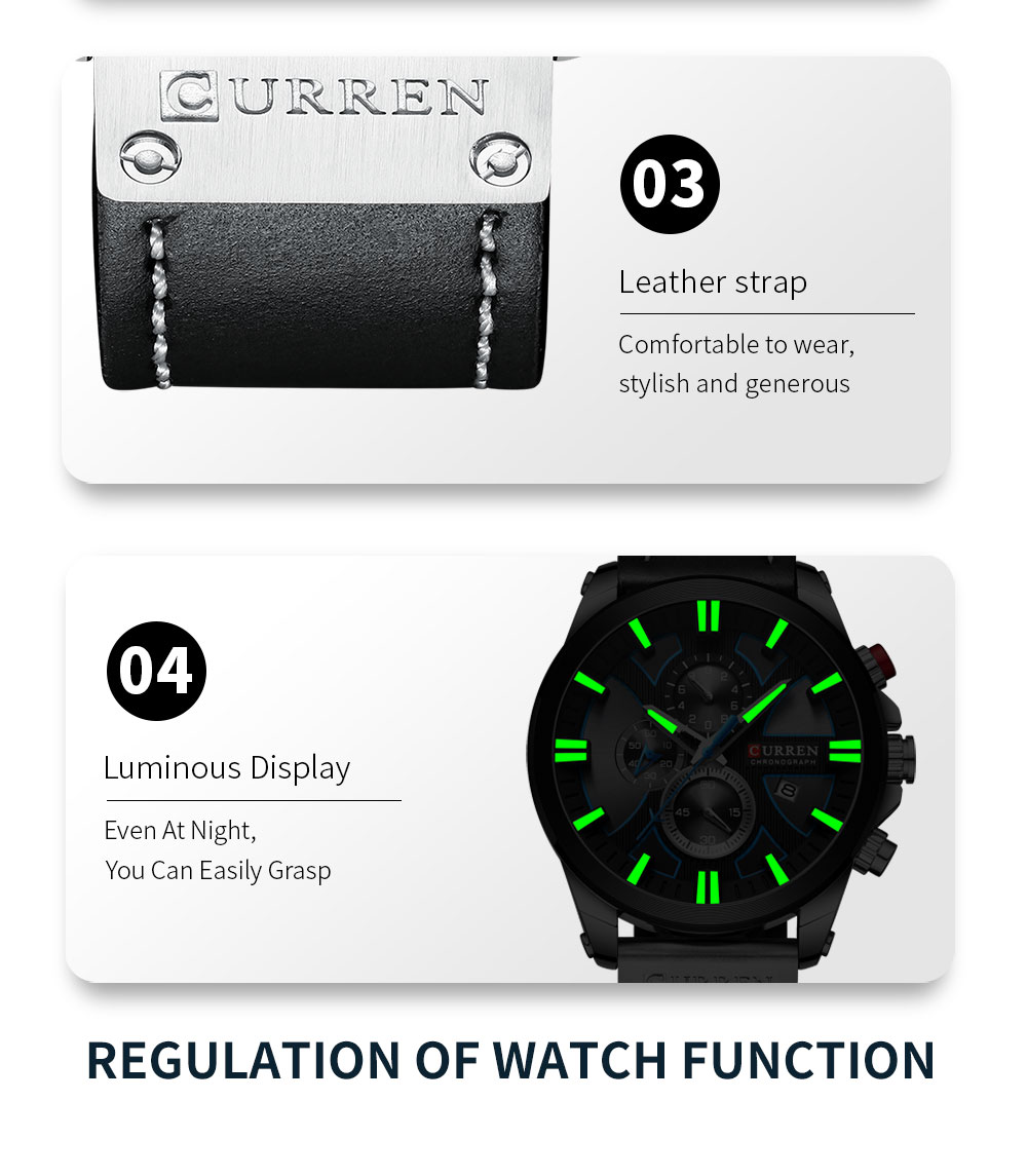 CURREN Watch Chronograph Sport Mens Watches Quartz Clock Leather Male Wristwatch Relogio Masculino Fashion Gift for Men H14320c9bf131489a8d926fc1a00129c3r