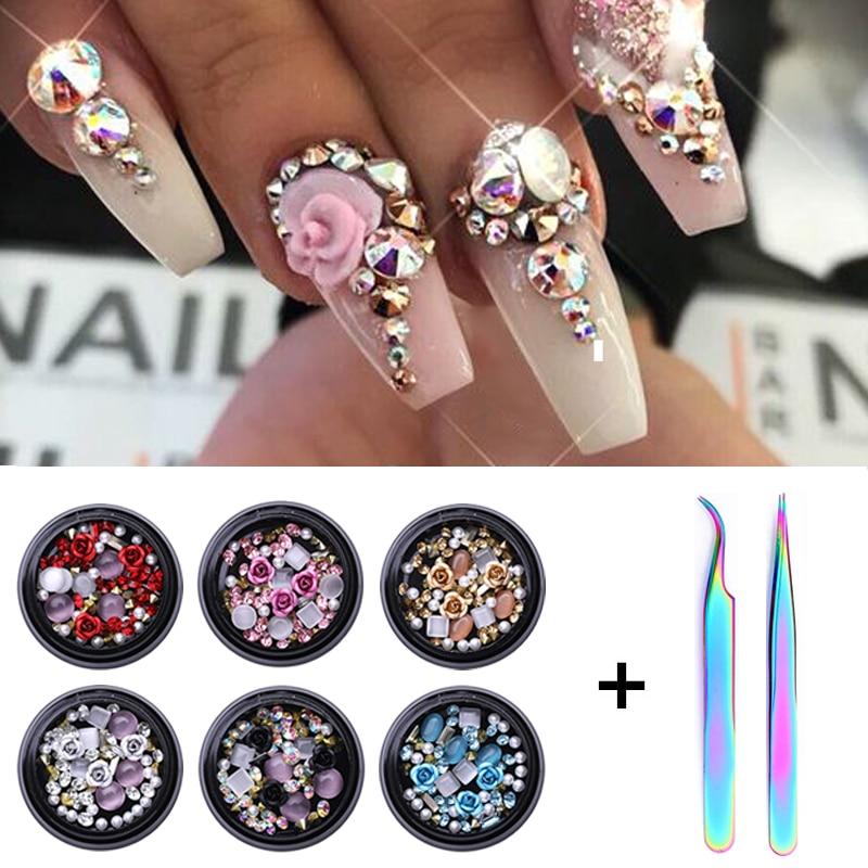 1/2Pcs Set  3D Nail Rhinestones Stones Mixed Colorful DIY Design Decals With Nail Curved Tweezer Crystals Nail Art Decorations
