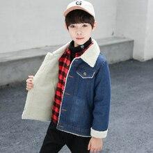 Kinder Jungen Mädchen Jacke und Mantel Trendy Warme Fleece Denim Jacke Winter Mode Teen Jean Jacke Oberbekleidung Männlichen Cowboy Outfit