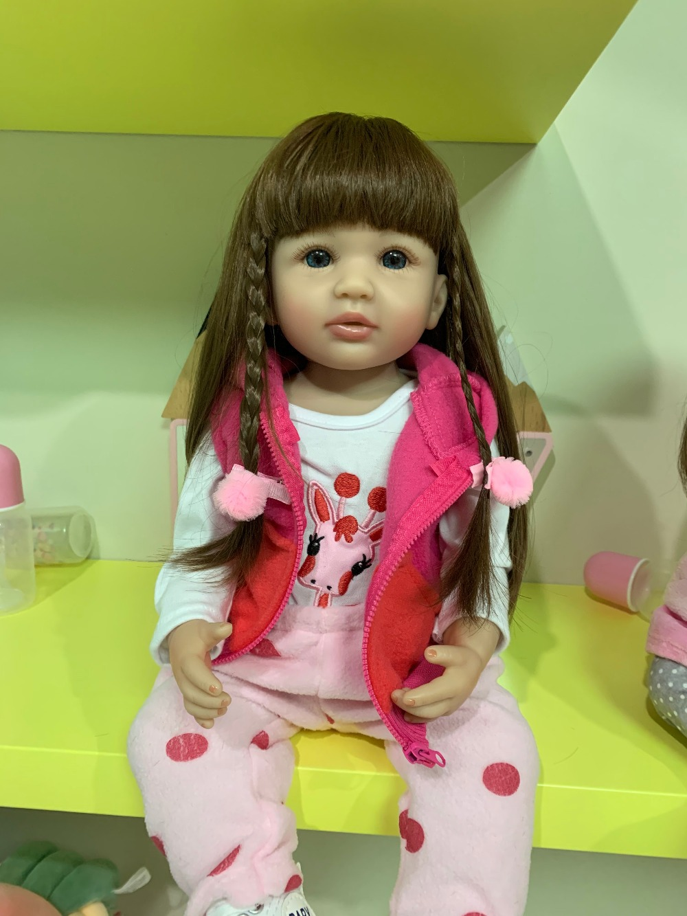 Original NPK 55CM Infant Full Body Silicone Doll Long Hair Reborn Toddler Girl Doll Real Soft Touch Children Birthday Gift