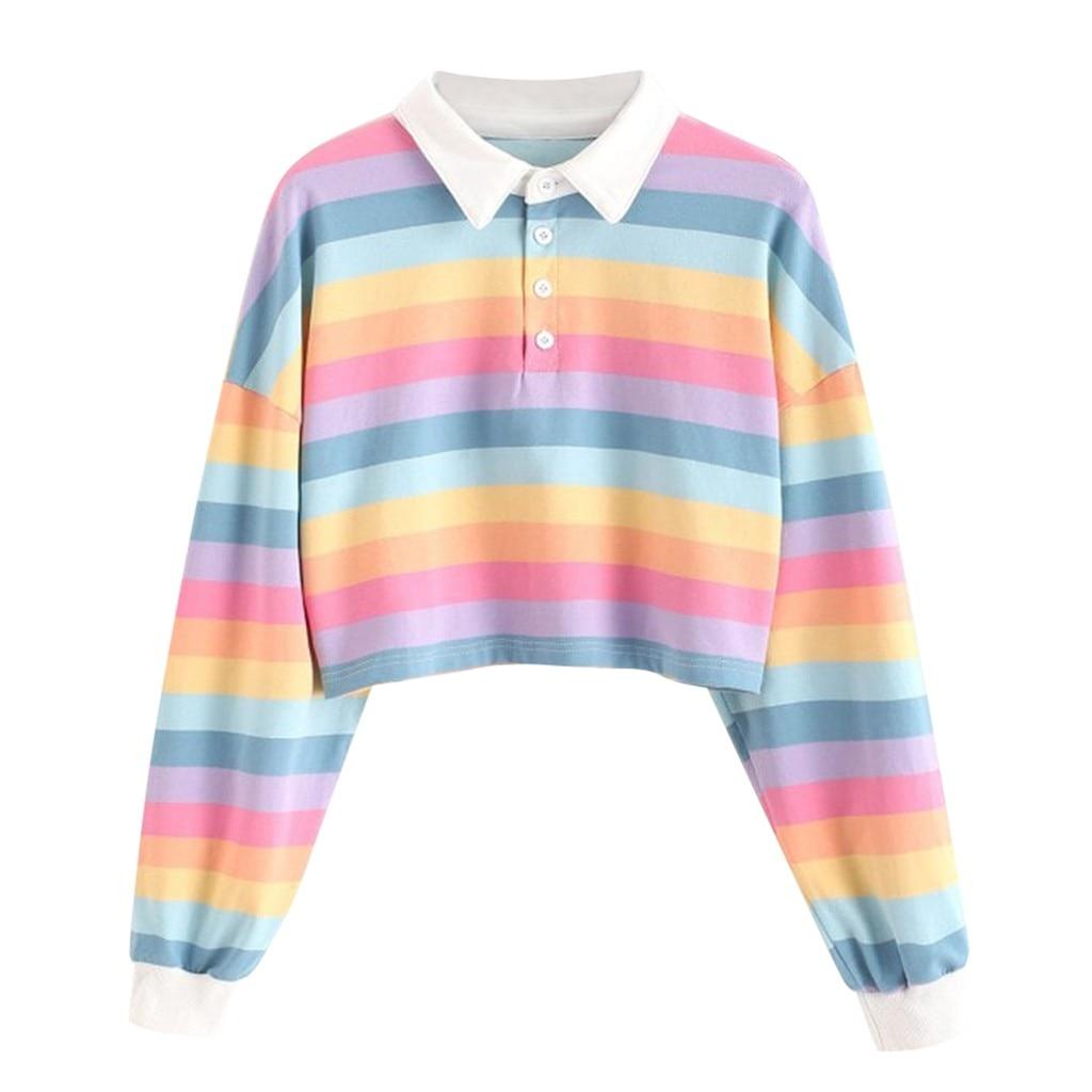 JAYCOSIN Creative Ladies Color Striped Sweatshirt Button Stitching long-sleeved Sports Sweatshirt Autumn Winter Casual Wild
