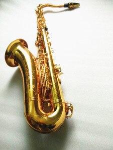 Image 2 - Saxofón Tenor instrumentos musicales saxofón Tenor profesional saxofón laca de oro Cañas cuello y funda