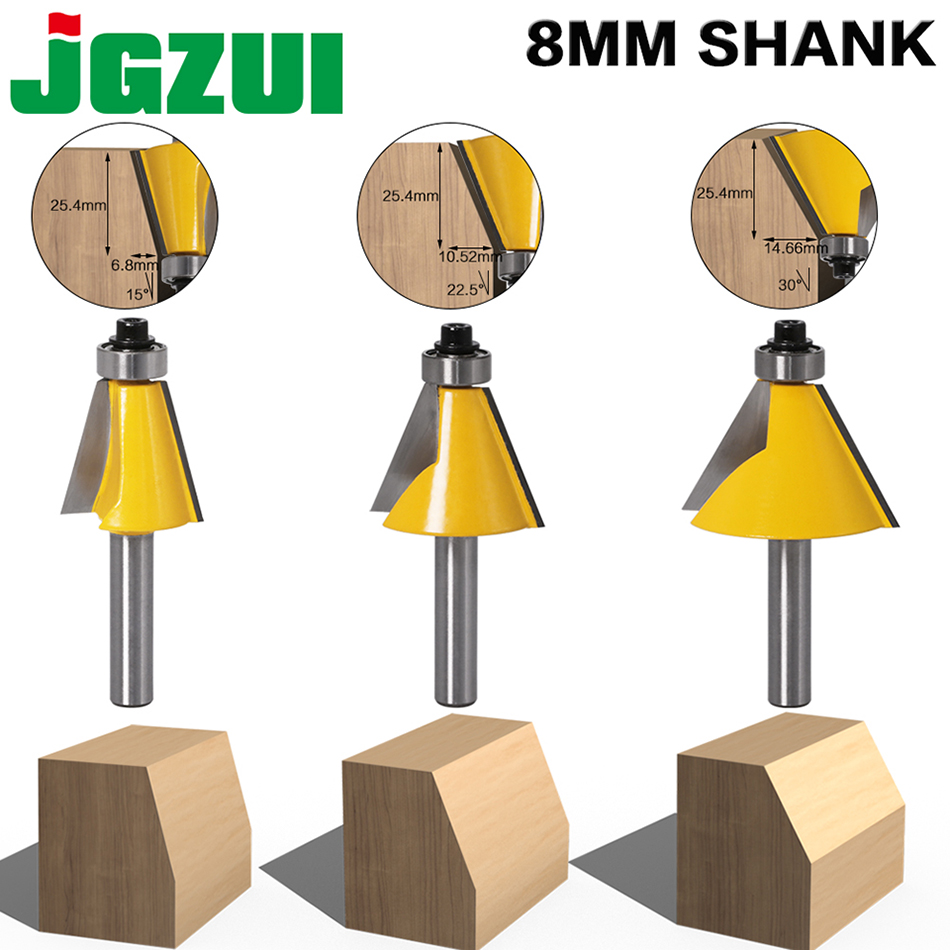 1pc 8MM Shank Chamfer Router Bit  15 22.5 30  Degree Milling Cutter For Wood Machine