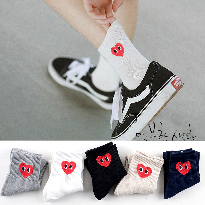 Pure Colors Loving Heart Print Socks Eye Autumn Winter Women Cotton Sock Cute Fun Cartoon Sweet Breathable Absorb Sweat Comfort