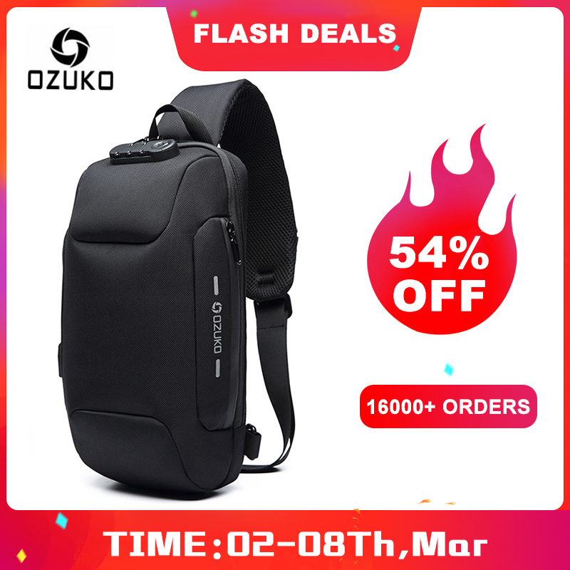 OZUKO 2019 New Multifunction Crossbody Bag for Men Anti-theft Shoulder Messenger Bags Male Waterproof Short Trip Chest Bag Pack