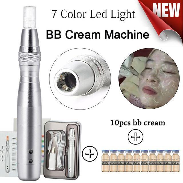 Stylo de beauté pour Machine à mousse et micro aiguille avec 5ml BB crème, fond de teint éclaircissant blanc, sérum brillant, 7 Led couleur BB