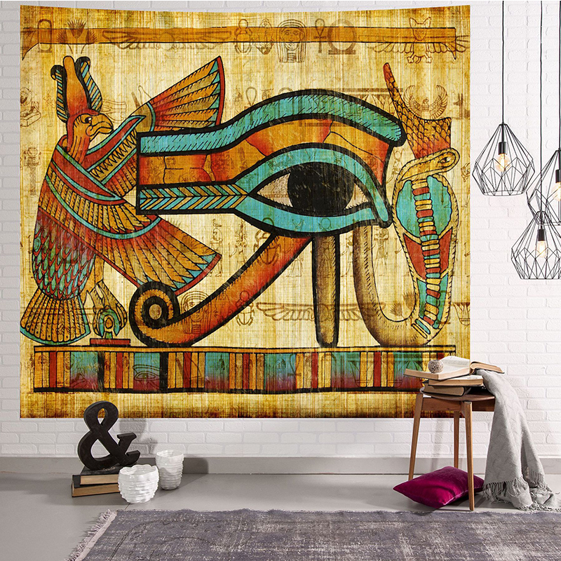 Image 3 - Yellow Ancient Egypt Tapestry Wall Hanging Old Culture Printed  Hippie Egyptian Tapestries Wall Cloth Home Decor Vintage  TapestryTapestry